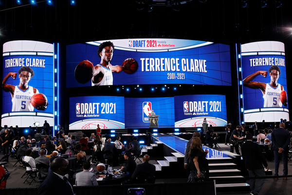 NBA Commissioner Adam Silver gives a memorial in honor of Terrence Clarke on Thursday during the 2021 NBA Draft at the Barclays Center in New York City.