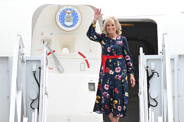 First lady Jill Biden arrives in Savannah, Ga., on July 8. She was injured last weekend while reportedly stepping on an object on a beach in Hawaii.