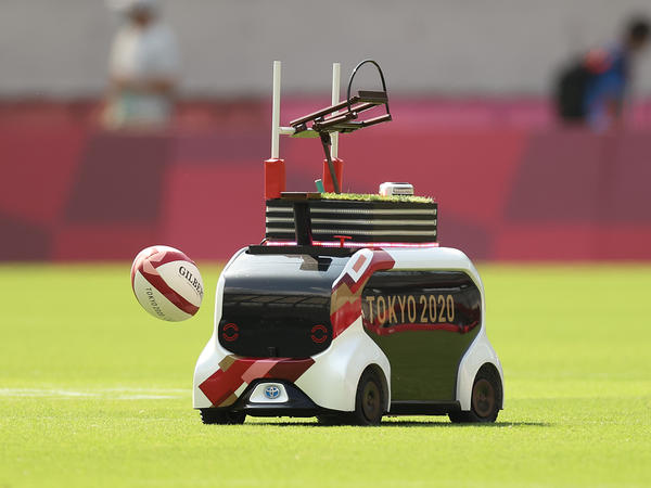 A Field Support Robot was used to retrieve rugby balls on day three of the Tokyo Olympics. Over the weekend, the robot will help during track and field events.