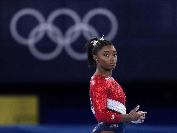 U.S. gymnast Simone Biles waits to perform on the vault during the artistic gymnastics women's final at the Tokyo Olympics on July 27, 2021.