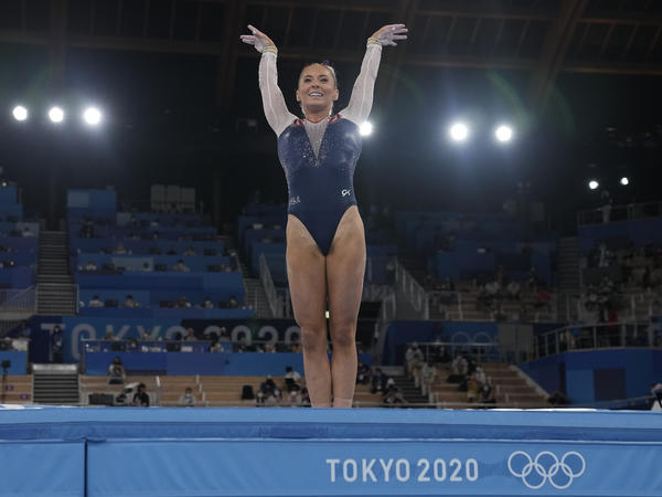 U.S. gymnast MyKayla Skinner performs on the vault during the gymnastics women's apparatus final at the Summer Olympics in Tokyo.
