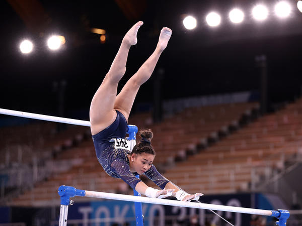U.S. gymnast Sunisa Lee competes in the women's uneven bars final on Sunday at the Olympic Games in Tokyo.