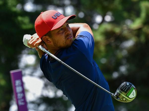 USA's Xander Schauffele watches his drive from the 5th tee in the final round of the men's golf tournament during the Tokyo Olympics on Sunday.