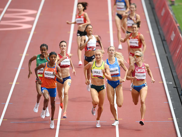 Dutch athlete Sifan Hassan wins the race in the first round of women's 1,500-meter heats at the Tokyo Olympics on Monday.