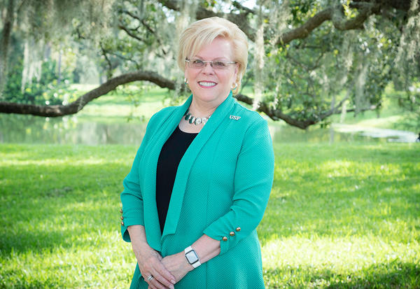 Rhea Law, a USF graduate and former chair of the university's Board of Trustees, was confirmed to become the interim president. She will serve until a permanent replacement is found.