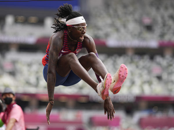 U.S. athlete Brittney Reese competes in the women's long jump final at the Summer Olympics in Tokyo.