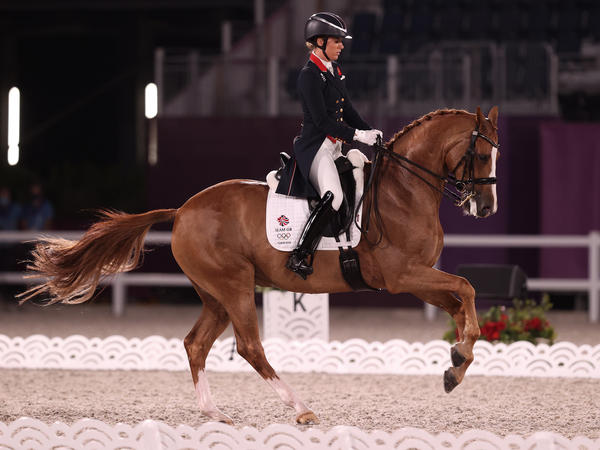 Great Britain's Charlotte Dujardin rides Gio while competing in the Dressage Individual Grand Prix Freestyle Final on July 28 at the Tokyo Olympic Games.