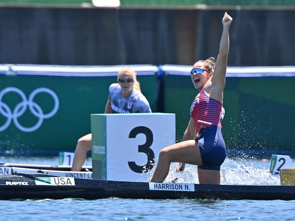 Nevin Harrison of the U.S. celebrates after winning gold in the women's canoe single 200-meter final during the Olympic Games at Sea Forest Waterway in Tokyo on Thursday.