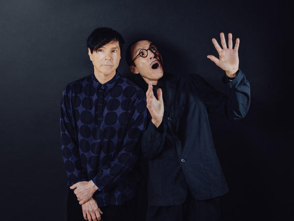 Brothers Russell and Ron Mael in director Edgar Wright's film <em>The Sparks Brothers</em>, a Focus Features release.