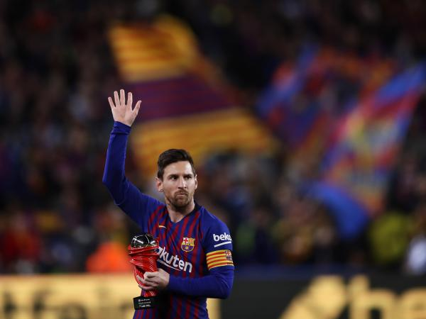 Lionel Messi waves at a Barcelona crowd in 2019. Barcelona says Lionel Messi will not stay with the club.