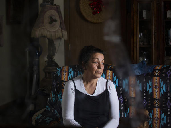 Wilma Fleury sits in her home in Browning, Montana on April 24, 2021.