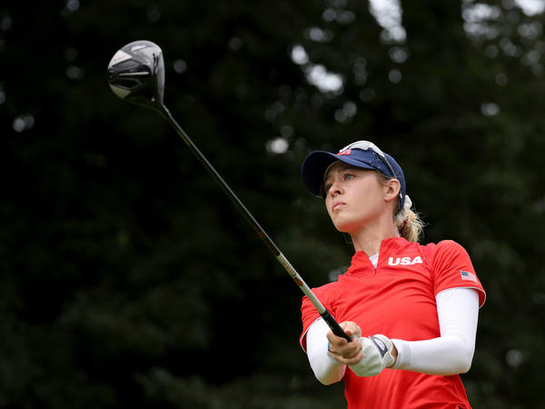 Nelly Korda of Team USA plays her shot from the 18th tee during the final round of the Women's Individual Stroke Play on Saturday at the Tokyo 2020 Olympic Games.