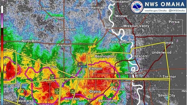 Severe thunderstorms struck eastern Nebraska Saturday, bringing torrential rains and flash flooding to the region.