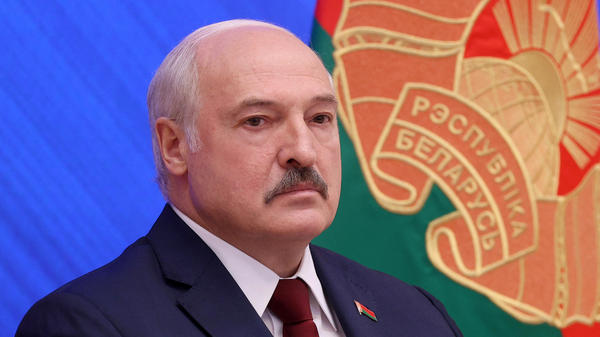 Belarusian President Alexander Lukashenko dismisses international criticism at a news conference Monday in Minsk. The U.S. and other countries announced new sanctions against Belarusian officials and Lukashenko's allies.