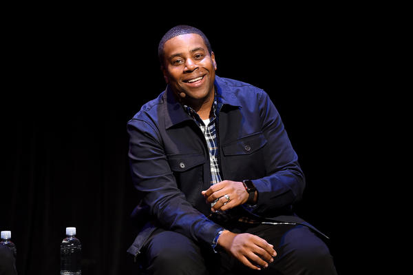 Kenan Thompson speaks on stage during the 2019 New Yorker Festival. He's currently nominated for two Emmy Awards, one for <em>Kenan</em>, and another for his comic performances on <em>SNL</em>.