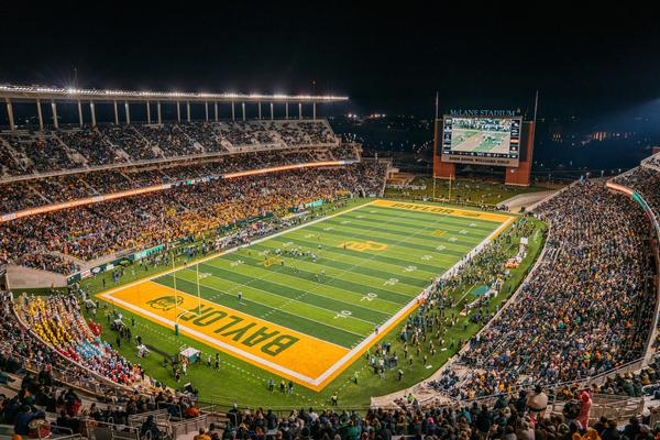 The Baylor Bears take on West Virginia Mountaineers at McLane Stadium on Oct. 31, 2019 in Waco, Texas. In a new report, the NCAA says the culture of sexual violence and a lack of accountability spanned the entire Baylor University campus — both inside athletics and out.