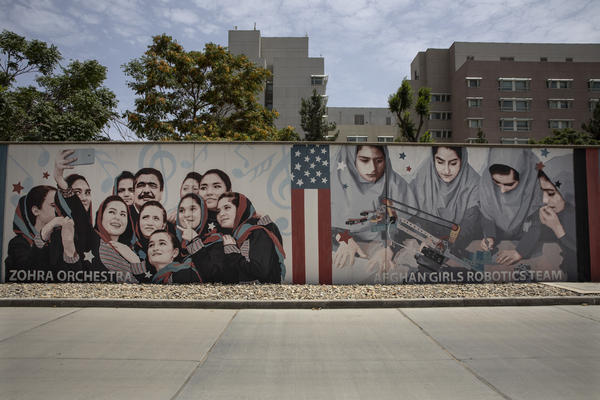 Murals are seen along the walls at a quiet U.S. Embassy on July 30 in Kabul, Afghanistan.