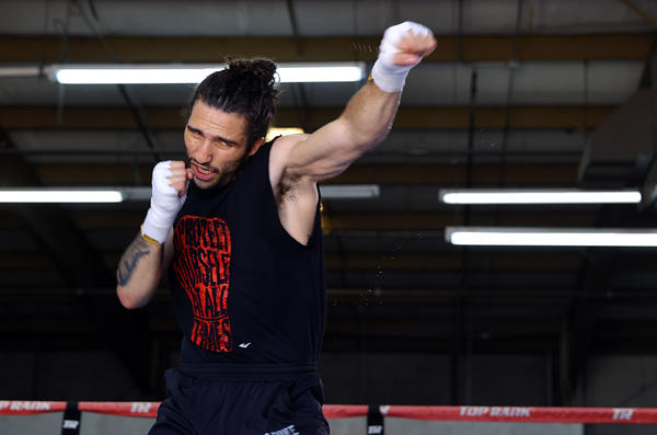 """Middleweight prospect Nico Ali Walsh, grandson of """"The Greatest,"""" Muhammad Ali, trains in Las Vegas with head coach Sugar Hill Steward earlier this month, ahead of his pro debut in Oklahoma."""