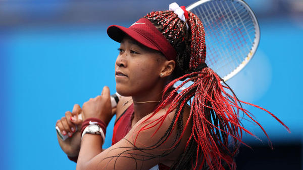 Naomi Osaka, pictured playing at the Tokyo Olympic Games on July 26, is among the celebrities vowing support for the people of Haiti.