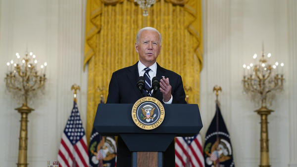 President Biden discusses the COVID-19 response and vaccination program Wednesday at the White House. Biden also spoke about Afghanistan in an interview Wednesday with ABC News.