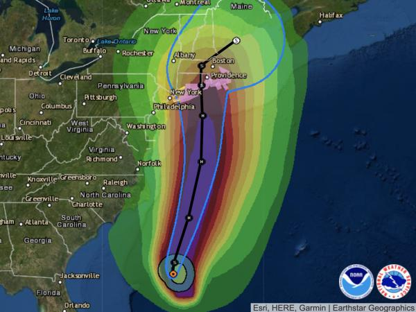 Tropical Storm Henri is predicted to become a hurricane before reaching the coast of southern New England. In this graphic, the bright colors depict the likely path of tropical-storm-force winds, which have a minimum threshold of 39 mph.
