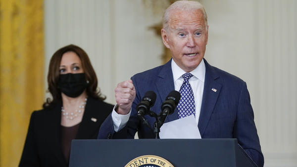 President Joe Biden, joined by Vice President Harris, speaks about the U.S. evacuation effort in Afghanistan at the White House on Friday.
