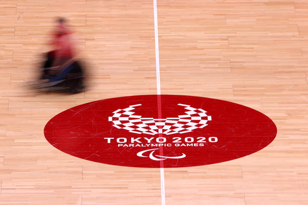 A general view of action during a New Zealand Wheelchair rugby practice session ahead of the Tokyo 2020 Paralympic Games at Yoyogi Sports Arena on August 22, 2021 in Tokyo, Japan.