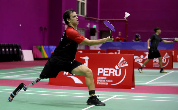 Peruvian Para badminton player Pedro Pablo de Vinatea trains during government-ordered coronavirus lockdown on June 13, 2020, in Lima, Peru. Badminton is making its debut at the Paralympic Games this summer in Tokyo.
