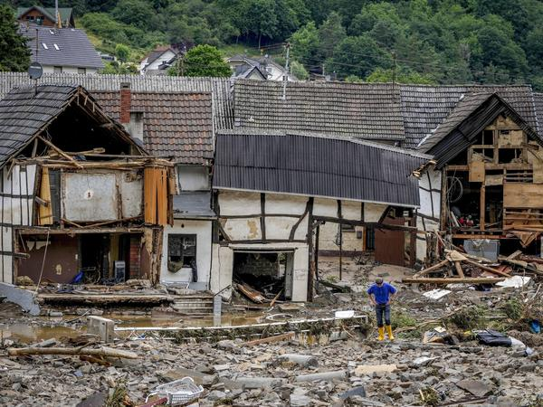 Destroyed houses are seen in Schuld, Germany, on July 15 after devastating floods hit the region.