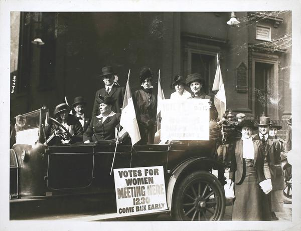 A photo taken on October 18, 1920, of suffragettes in Newark, New Jersey during the closing hours of the campaign for votes in support of the 19th Amendment.