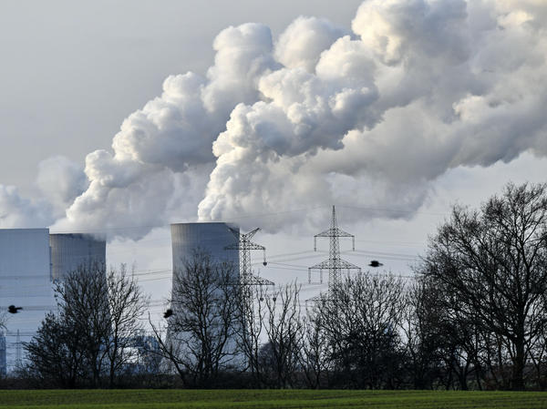 Steam blows from the RWE Niederaussem lignite-fired power station in Bergheim, Germany, in January 2020. Scientists from the National Oceanic and Atmospheric Administration say the concentration of greenhouse gases in 2020 was the highest on record.