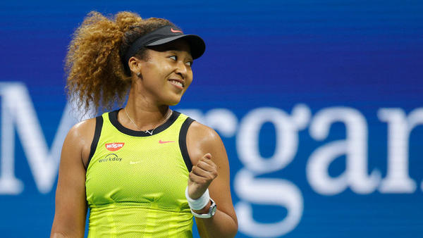Naomi Osaka celebrates against Marie Bouzkova during their Women's Singles first round match on Day 1 of the 2021 U.S. Open at the Billie Jean King National Tennis Center in Queens, N.Y., on Monday.