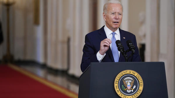 """""""I was not going to extend this forever war,"""" President Biden said Tuesday, """"and I was not extending a forever exit."""""""