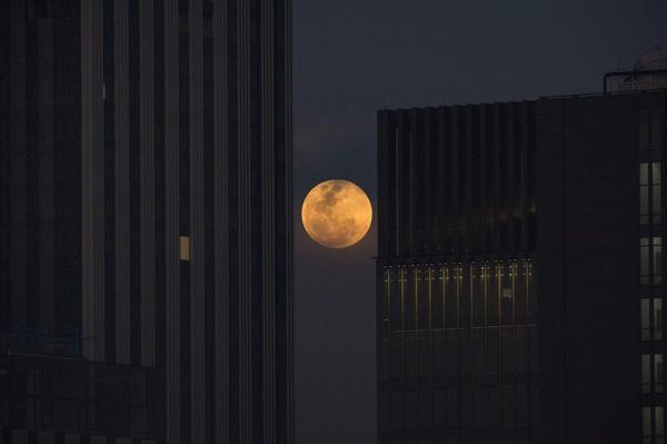 The moon rises between two office buildings in Bangkok.