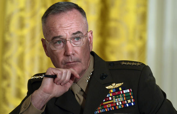 Gen. Joseph Dunford, the chairman of the Joint Chiefs of Staff, listens during the National Space Council meeting in the East Room of the White House in Washington, Monday, June 18, 2018. President Donald Trump has tasked the Defense Department to begin the process of establishing the 'Space Force' as the sixth branch of the U.S. armed forces. He said the new branch's creation will be overseen by Dunford. (AP Photo/Susan Walsh)