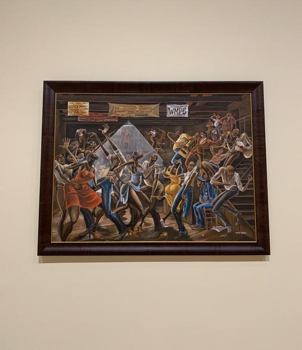 """A closeup on the """"Sugar Shack"""" painting by the late artist Ernie Barnes. (Tonya Mosley/Here & Now)"""