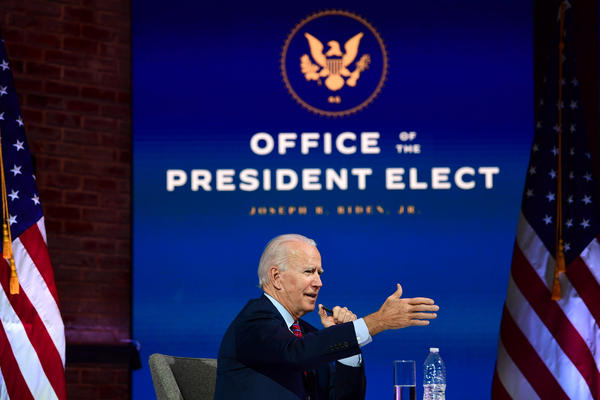 President-elect Joe Biden speaks during a virtual meeting with the United States Conference of Mayors on Nov, 23 in Wilmington, Delaware. (Mark Makela/Getty Images)