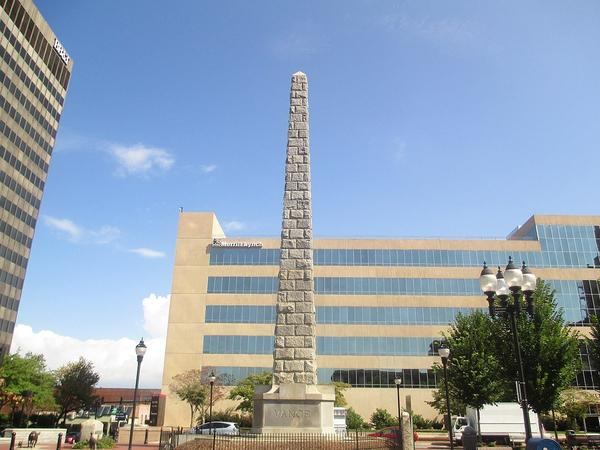 The Vance Monument in Asheville's Pack Square in 2012. The Asheville city council voted Tuesday to accept a task force recommendation to remove the monument from the square.