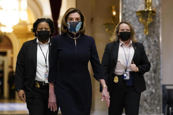 House Speaker Nancy Pelosi, D-Calif., walks through the U.S. Capitol on Wednesday.