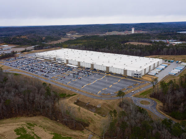 A vote tally begins in a union election at Amazon's warehouse in Bessemer, Ala., pictured here on Feb. 6.