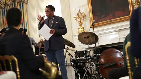 Herbie Hancock, speaking to high school students in the State Dining Room of the White House during President Obama's celebration of International Jazz Day on April 29, 2016.