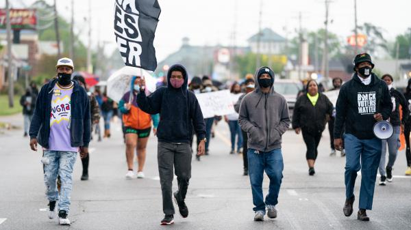 Protesters march last week in Elizabeth City, N.C., after the shooting death of Andrew Brown Jr.