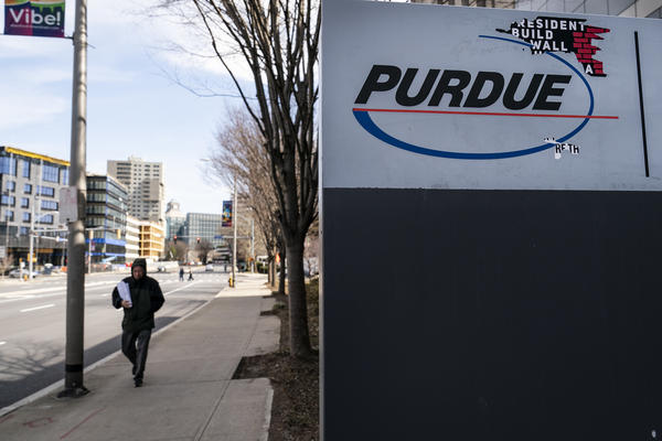 Signage for Purdue Pharma headquarters stands in downtown Stamford, April 2, 2019 in Stamford, Connecticut. Purdue Pharma, the maker of OxyContin, and its owners, the Sackler family, are facing hundreds of lawsuits across the country for the company's alleged role in the opioid epidemic that has killed more than 200,000 Americans over the past 20 years.