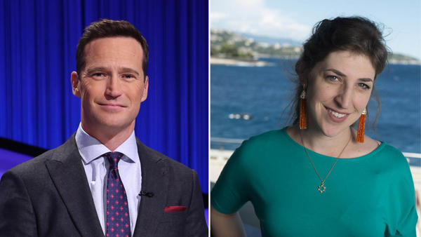 <em>Jeopardy!</em> executive producer Mike Richards (left) will host the daily syndicated program, while actor Mayim Bialik will host the primetime series and new spinoffs.
