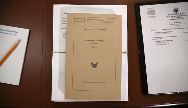 A copy of the Tax Cuts and Jobs Act conference report sits at the U.S. Capitol on Dec. 18, 2017. The legislation was passed using the budget reconciliation process.