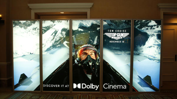An illuminated advertisement for the upcoming <em>Top Gun: Maverick</em> movie is displayed at Caesars Palace during CinemaCon, the official convention of the National Association of Theatre Owners, last month, in Las Vegas, Nevada.
