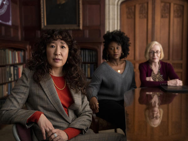 Sandra Oh, Nana Mensah and Holland Taylor play English professors at a fictional college in <em>The Chair</em>.