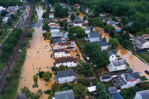 Homes that were sold by the Department of Housing and Urban Development between January 2017 and August 2020 are in federally designated flood zones at almost 75 times the rate of all homes sold nationwide in that period. New Jersey is one hot spot. Here, flooding from Tropical Storm Henri in Helmetta, N.J., this August.