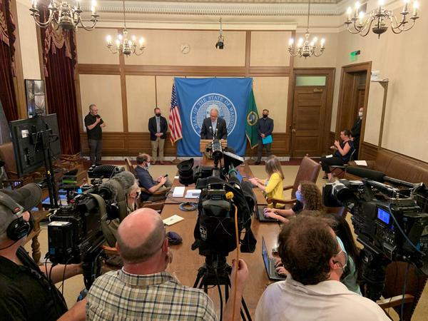 File photo of Gov. Jay Inslee during press conference Aug. 18 announcing vaccine mandate for people who work in K-12.