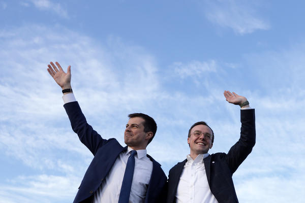 Pete Buttigieg (left), now the secretary of transportation, appears alongside his husband, Chasten, in February 2020. The couple are now the parents of two children.